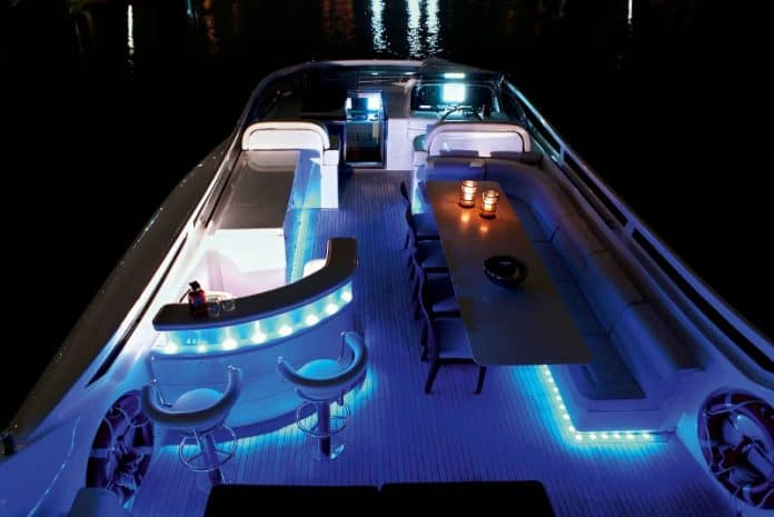 Motor Yacht Paris A Sun Deck at Night