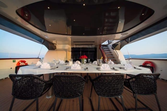 Motor sailor Aiaxaia aft deck